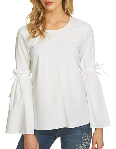 Cece Tie Bell Sleeve Poplin Top-WHITE-Large