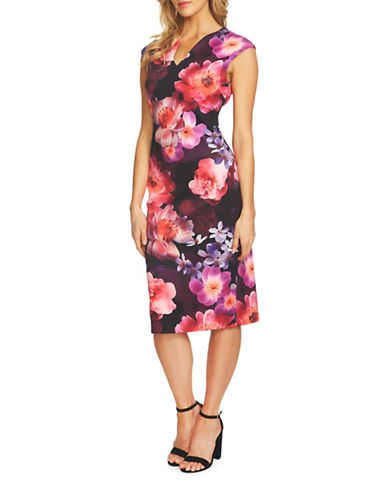 Cece Dark Blooms Scuba Midi Dress-PINK MULTI-8