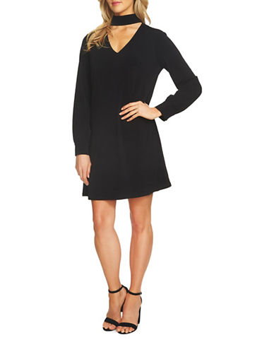 Cece Long Sleeve Crepe Choker Dress-BLACK-Medium