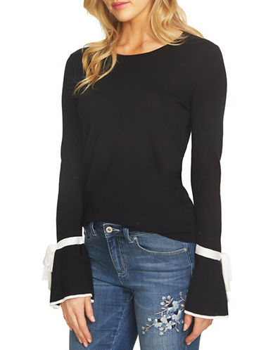 Cece Bow Tie Bell Sleeve Top-BLACK-Large