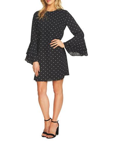 Cece Polka Dot Bell Sleeve Dress-BLACK-0