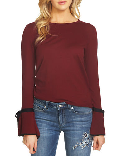 Cece Bow Tie Bell Sleeve Top-RED-Small