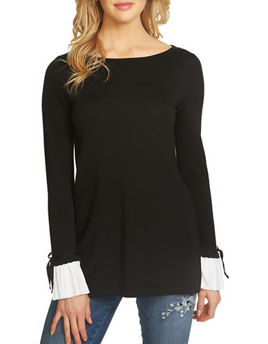 Cece Bow Tie Cotton Tunic-BLACK-X-Large