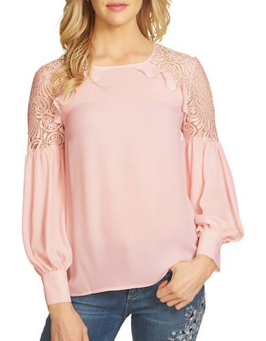Cece Raglan Sleeve Lace Shoulder Blouse-PINK-Large