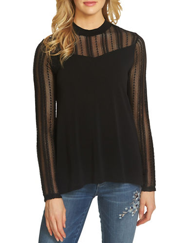 Cece Crepe Knit Blouse-BLACK-Medium 89479761_BLACK_Medium