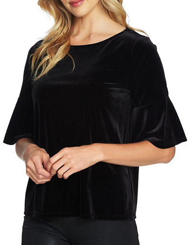 Cece Bell Sleeve Velvet Top-BLACK-Large