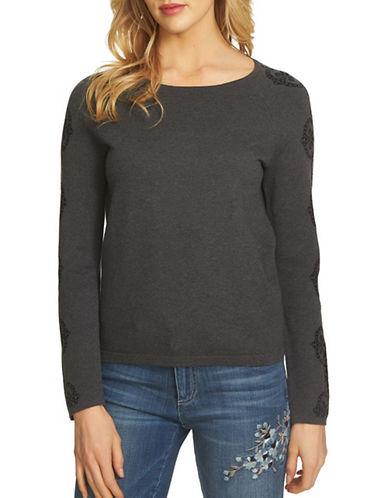 Cece Jacquard Cotton Sweater-GREY-X-Large