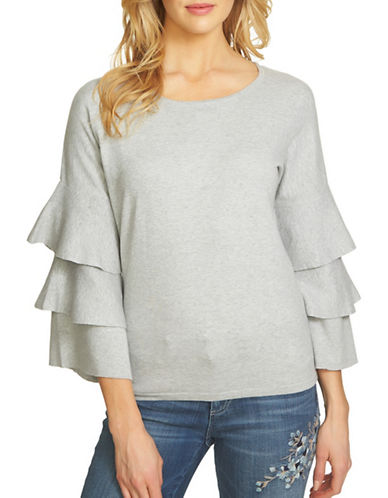 Cece Tiered Ruffle Sleeve Cotton Sweater-GREY-X-Small