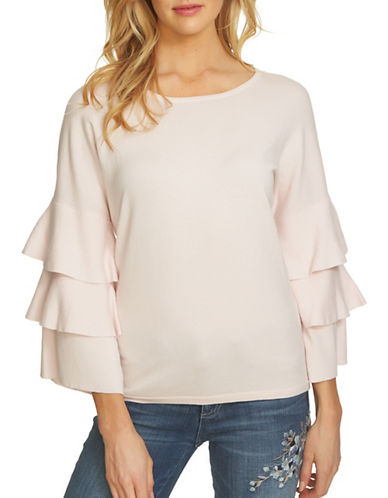Cece Tiered Ruffle Sleeve Cotton Sweater-PINK-X-Large