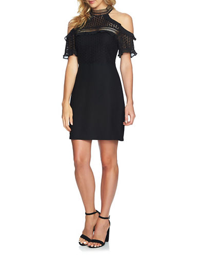Cynthia Steffe Cold-Shoulder Lace Dress-BLACK-2