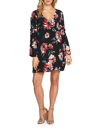 1 State Floral Bell-Sleeved Dress-BLACK MULTI-Small
