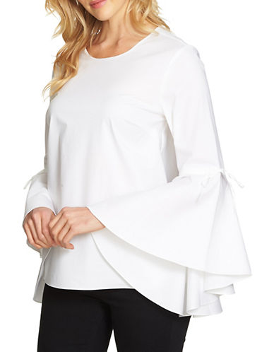 1 State Cascade Long-Sleeve Blouse-WHITE-X-Large