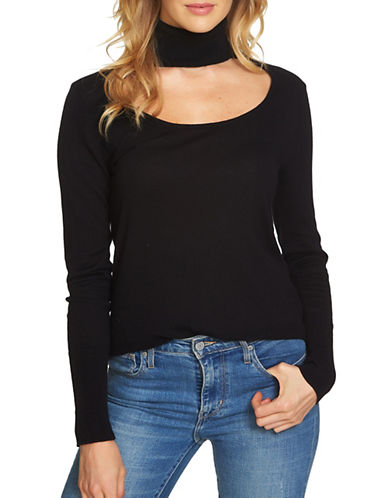 1 State Long Sleeve Choker Top-BLACK-X-Small