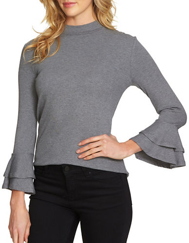 1 State Pull-On Mockneck Top-GREY-Small