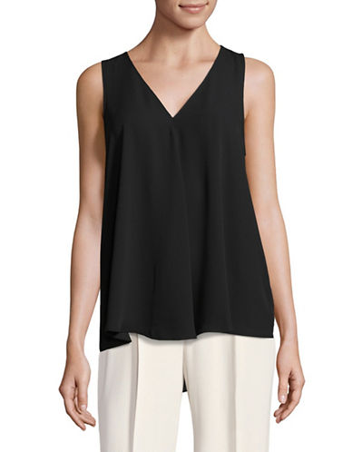Vince Camuto V-Neck Drape Blouse-BLACK-Large