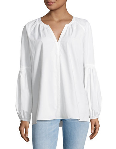 Vince Camuto Poplin Sleeve Blouse-WHITE-X-Small