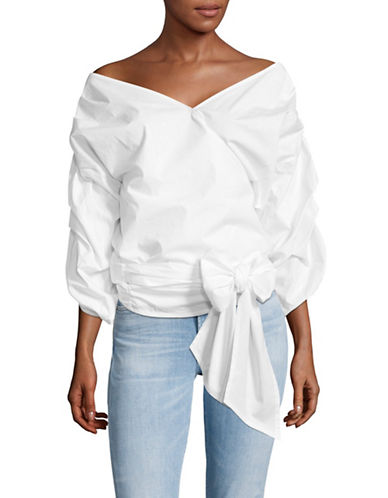 Vince Camuto Bubble Sleeve Belted Wrap Blouse-WHITE-Small