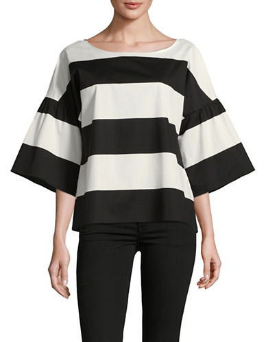 Vince Camuto Stripe Bell Sleeve Top-BLACK MULTI-Large