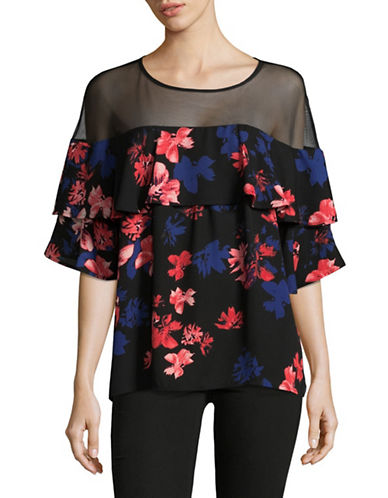 Vince Camuto Floral Babydoll Mesh Blouse-BLACK MULTI-Medium
