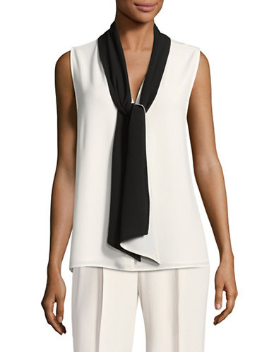 Vince Camuto Colourblock Tie-Neck Sleeveless Blouse-IVORY/BLACK-X-Small