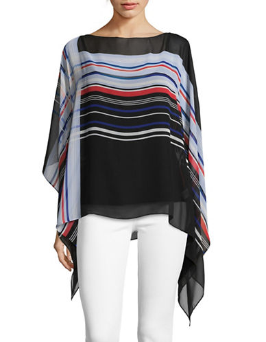 Vince Camuto Linear Graphic Panel Poncho-BLACK MULTI-X-Large