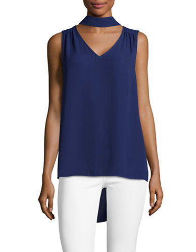 Vince Camuto Mock Choker-Neck Sleeveless Blouse-BLUE-X-Large