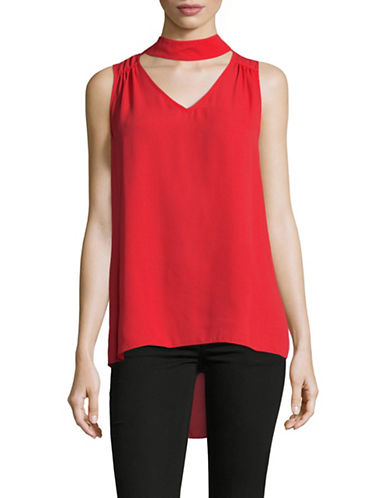 Vince Camuto Mock Choker-Neck Sleeveless Blouse-RED-Large