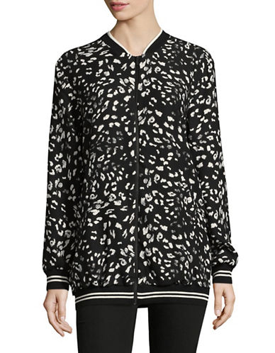 Vince Camuto Print Bomber Jacket-BLACK MULTI-Large