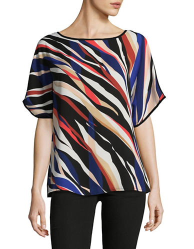Vince Camuto Dolman Sleeve Zebra Print Top-BLACK MULTI-Small