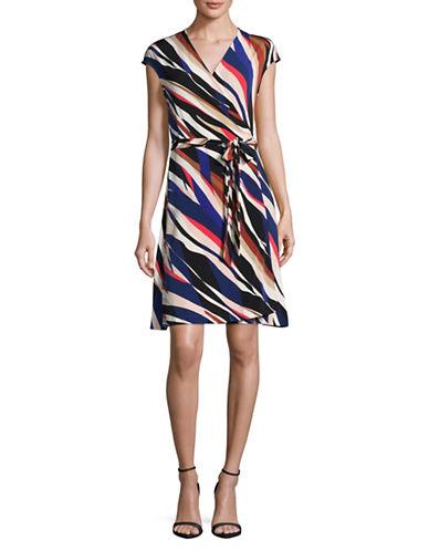 Vince Camuto Belted Zebra Wrap Dress-BLACK MULTI-Large