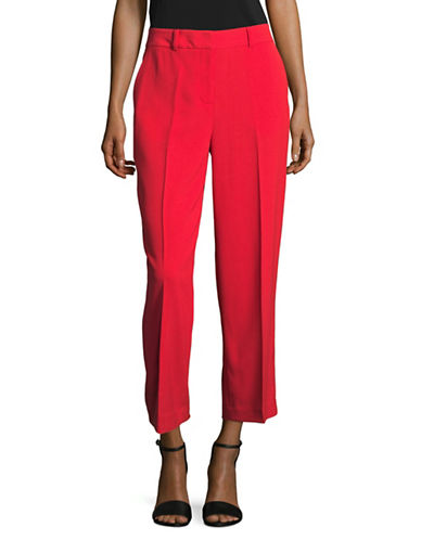 Vince Camuto Texture Base Straight Crop Pants-RED-2