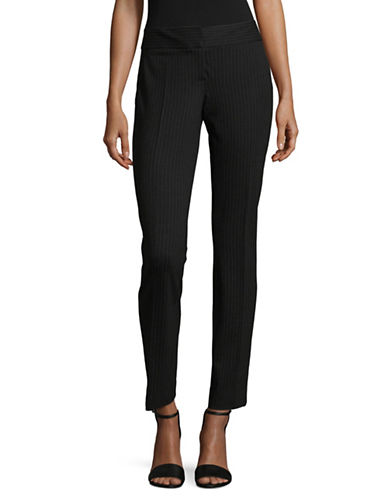 Vince Camuto Ponte Pinstripe Ankle Pants-BLACK-0