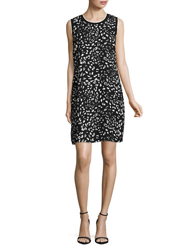 Vince Camuto Sleeveless Printed Shift Dress-BLACK MULTI-2
