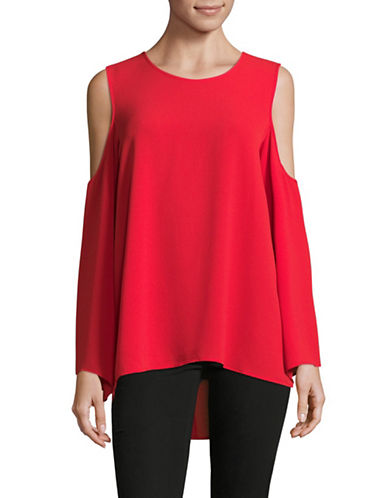Vince Camuto Cold-Shoulder Bell Sleeve Blouse-RED-Medium