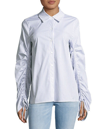 Vince Camuto Striped Button-Down Shirt-WHITE-Small