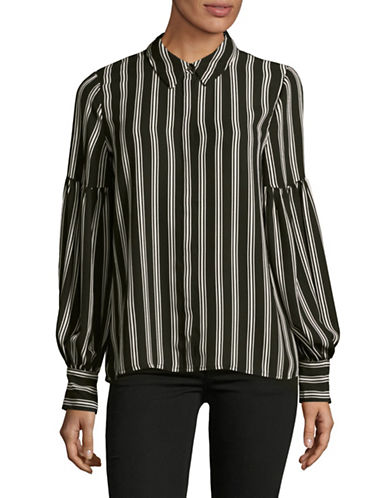 Vince Camuto Stripe Display Blouse-BLACK-Medium