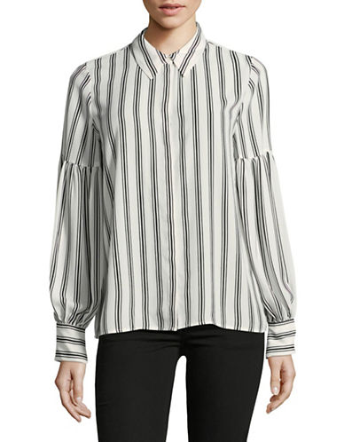 Vince Camuto Stripe Display Blouse-WHITE-Large
