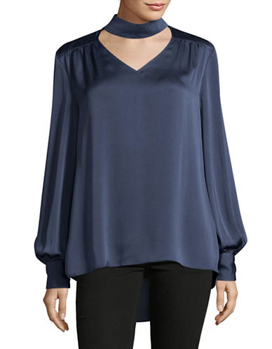 Vince Camuto Choker Neck Blouse-BLUE-Medium
