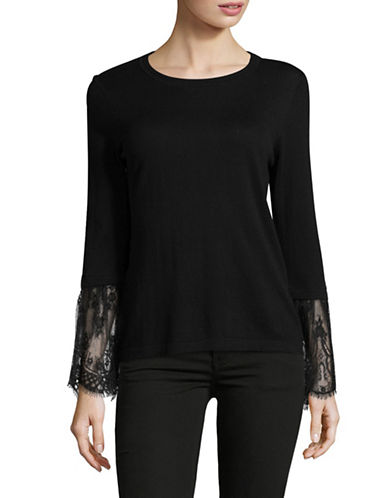 Vince Camuto Lace Bell Sleeve Sweater-BLACK-Medium