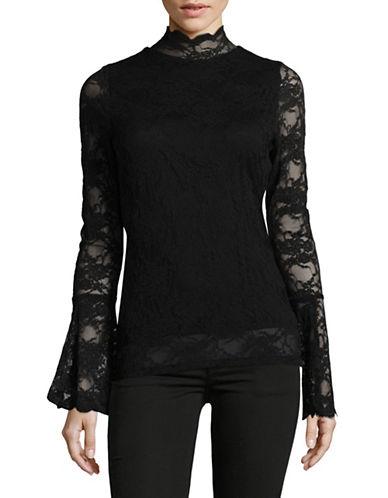 Vince Camuto Stretch Lace Blouse-BLACK-Small