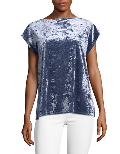Vince Camuto Crushed Velvet Blouse-BLUE-Small
