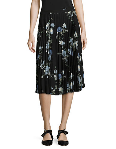 Vince Camuto Floral Pleated Skirt-CAMEO BLUE-2