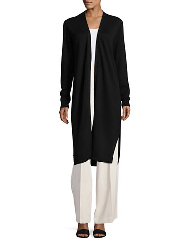 Vince Camuto Open Front Long Cardigan-BLACK-X-Small