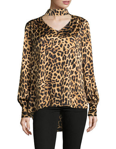 Vince Camuto Animal-Print Choker Blouse-MULTI-Medium