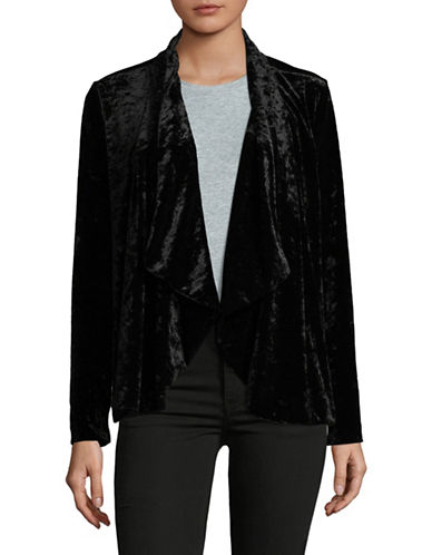 Vince Camuto Crushed Velvet Draped Cardigan-BLACK-Large