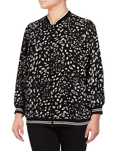 Vince Camuto Plus Animal Whisper Bomber Jacket-BLACK MULTI-1X