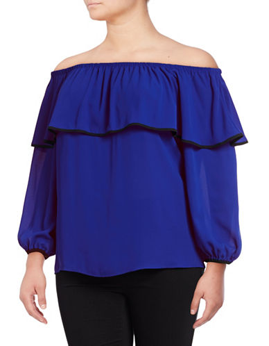 Vince Camuto Plus Plus Ruffle Off-Shoulder Blouse-VIVID BLUE-1X