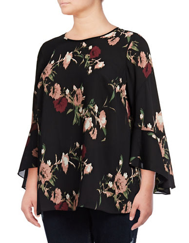 Vince Camuto Plus Plus Flared Sleeve Bouquet Blouse-PINK MULTI-2X