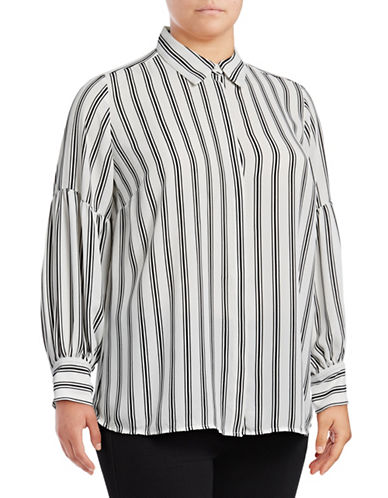 Vince Camuto Plus Plus Stripe Bishop Sleeve Blouse-WHITE MULTI-1X
