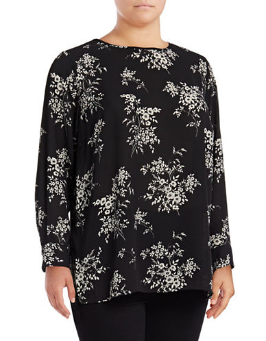 Vince Camuto Plus Plus Floral Long Sleeve Blouse-BLACK MULTI-2X